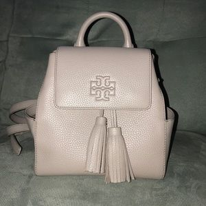 Tory Burch Thea Mini Gray Leather Backpack